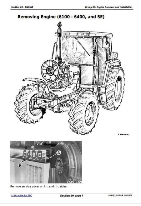 John Deere Tractors 6100, SE6100, 6200, SE6200, 6300